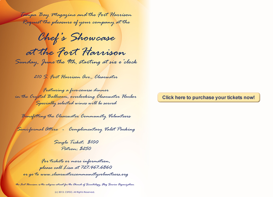Clearwater Community Volunteers Chef Showcase Invitation