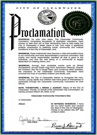 Mayor's Proclamation of Clearwater Community Volunteers Day