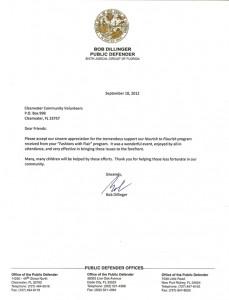Bob Dillinger Letter of Appreciation